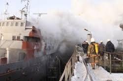 RJS mācību kuģa Alušta degšana